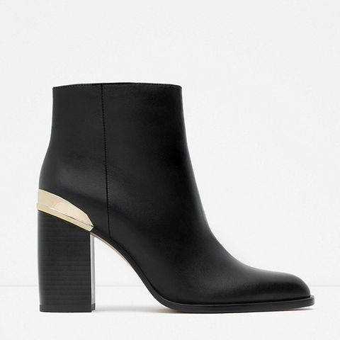 Block Heel Leather Ankle Boots With Golden Plaque