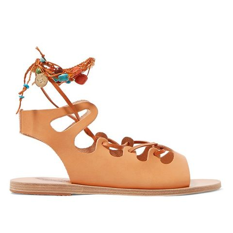 Antigone Embellished Lace-Up Leather Sandals