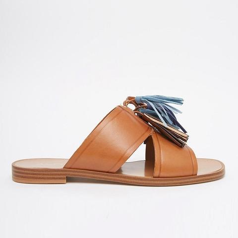 Grazioli Camel Tassel Flat Slider Sandals