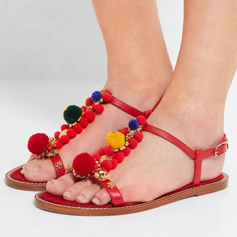 Pompom-Embellished Leather Sandals