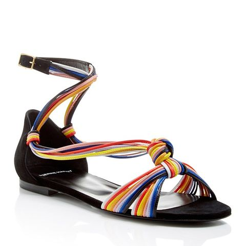 Suede and Leather Scoubi Flat Sandals
