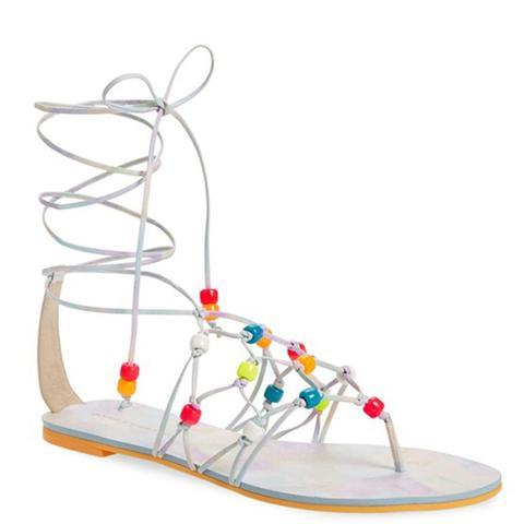 Laetitia Beaded Lace-Up Sandal