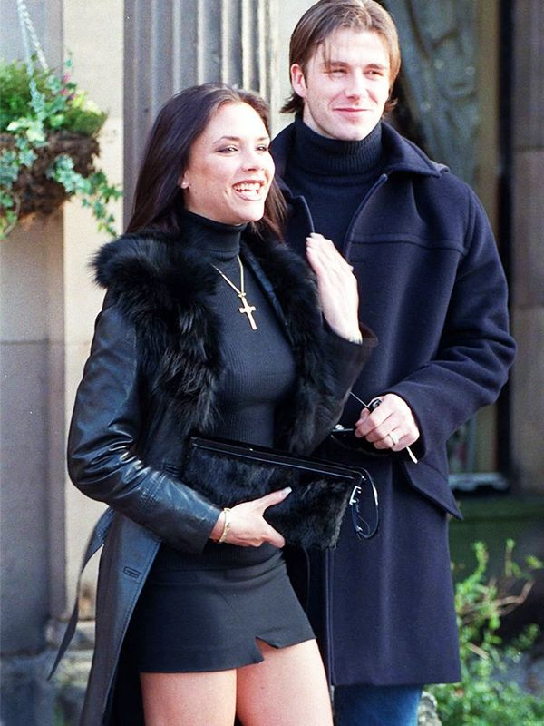 Victoria Beckham at the announcement of her engagement to David Beckham, January 1998