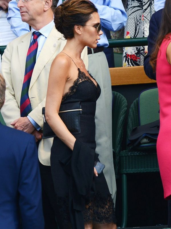 Victoria Beckham in a Louis Vuitton slip dress at Wimbledon, July 2013
