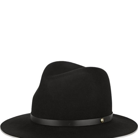 Leather-trimmed wool-felt fedora