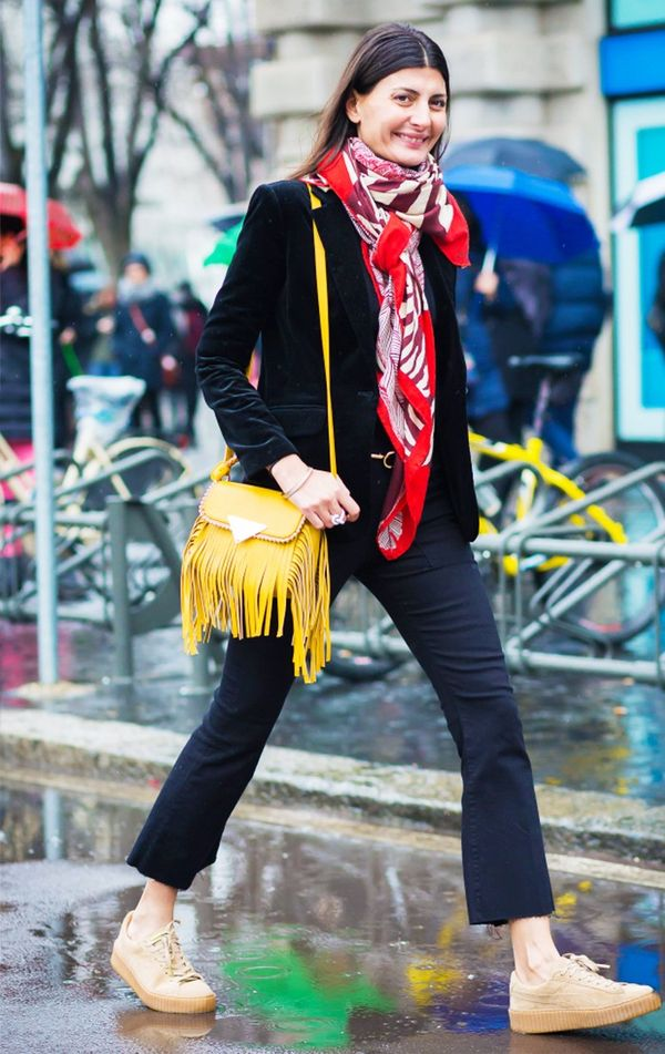 Cropped flares and colorful accessories look fresh with neutral sneakers:
