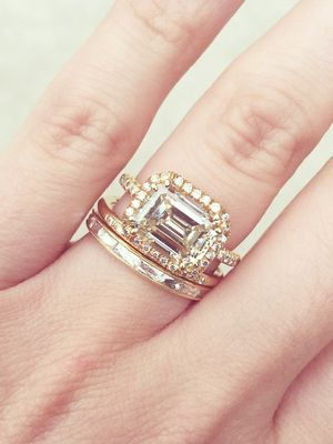 20 Real Girls With Gorgeous Wedding Band–and–Engagement Ring Combos