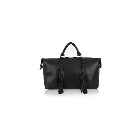 The Voyager fringed textured-leather weekend bag