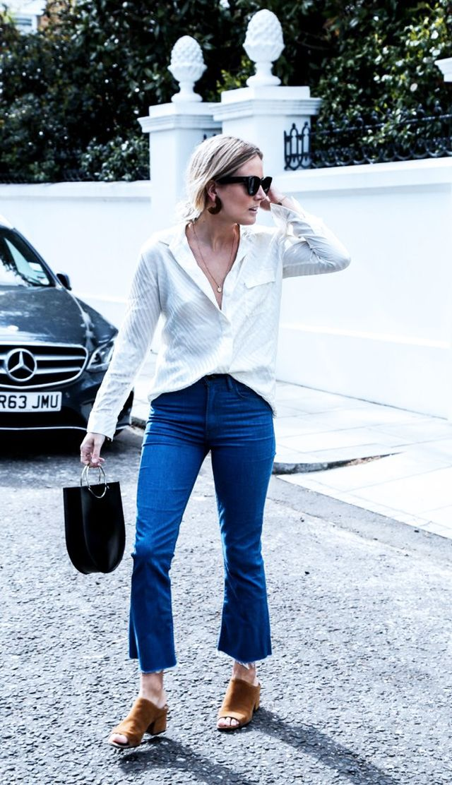 On Lucy Williams: Ganni shirt; Mother Sunny Hustler Jeans (£133); Future Glory bag; 3.1 Phillip Lim Cube Mule (£380) available in cream. Style Notes: Basics don't...