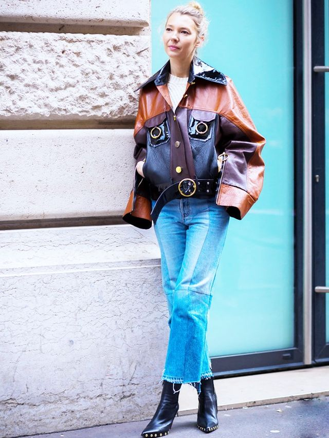 On Roberta Benteler: Vetements jeans; Céline boots. Style Notes: Take your jeans way out West, but do it the high-fashion way with Céline staples.