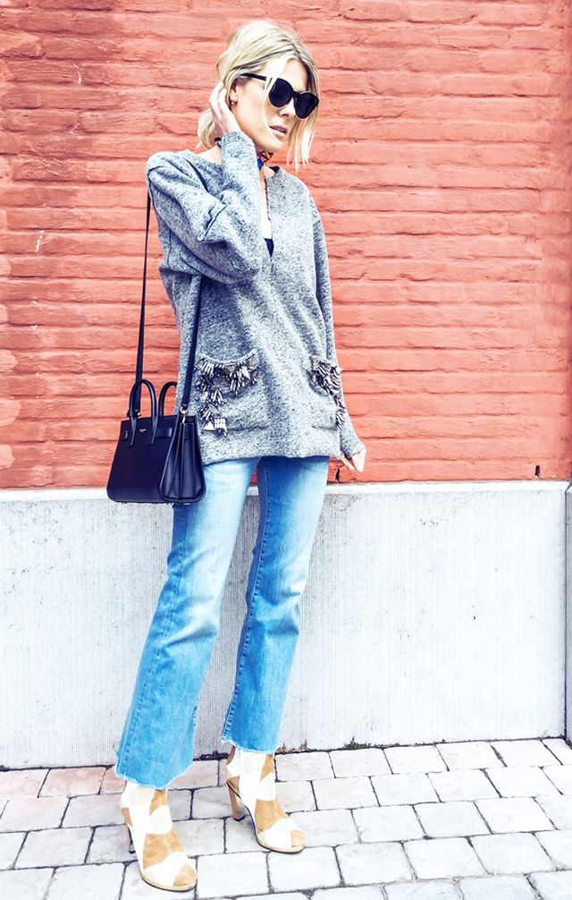 On Sofie Valkiers: Dior sunglasses; By Malene Birger sweater; Saint Laurent Sac du Jour Leather Small Tote Bag (£1890); M.i.h Jeans; Rodarte x & Other Stories Patchwork Boots...
