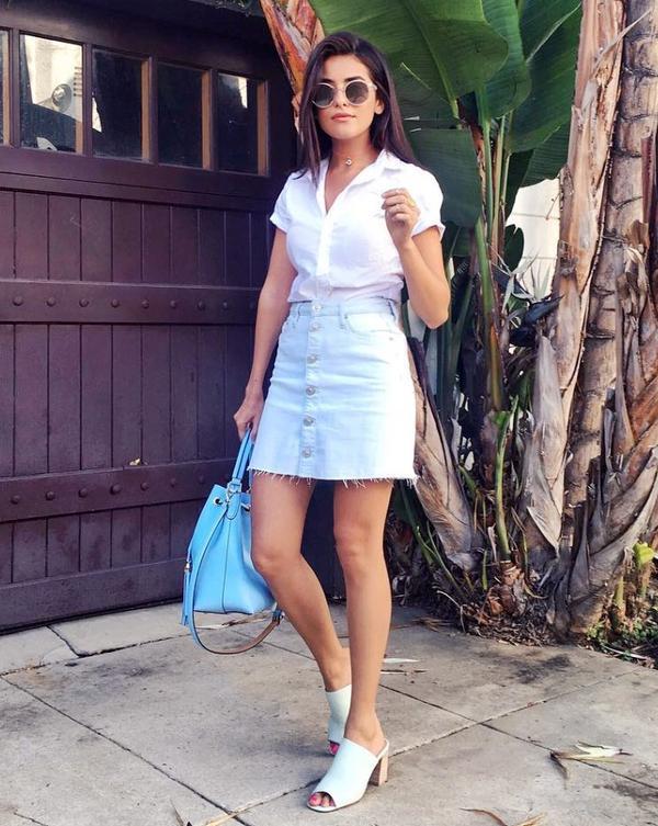 Denim Skirt + Mules