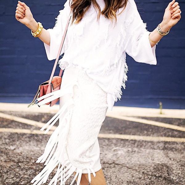 White-on-White Blouse + Skirt