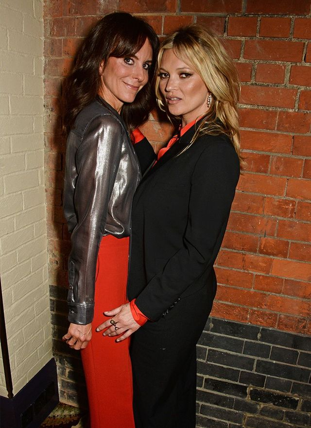 Kate Moss with Net-A-Porter's Alison Loehnis at the Equipment launch party in London.