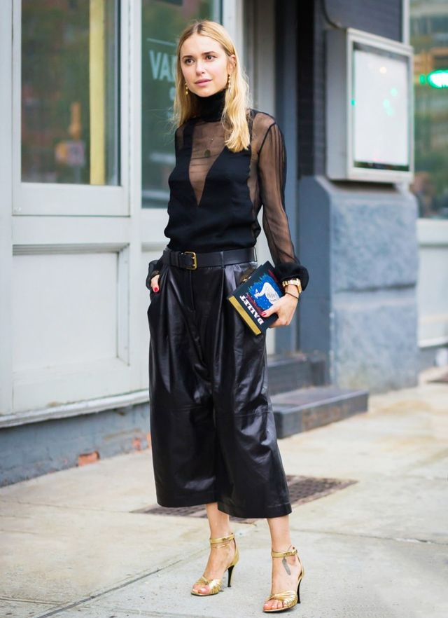 Sheer Top + Culottes + Single-Strap Sandals