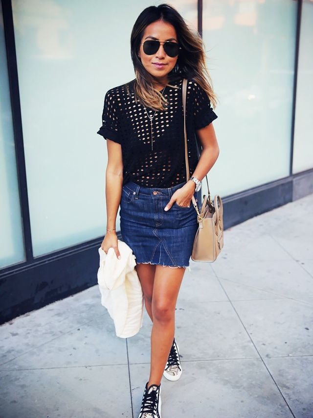 how to wear a denim miniskirt like an whowhatwear