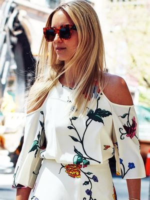 A Blogger-Approved Way to Wear a Floral Dress With Sneakers
