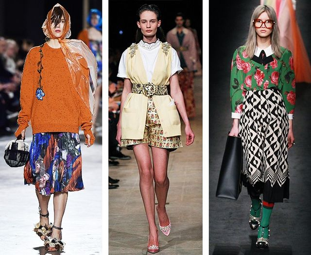 AW16 Fashion Trends on the catwalk at Christopher Kane, Miu Miu and