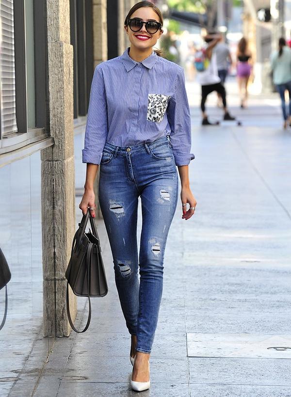 Olivia Culpo fashion style: Thakoon for DesigNation shirt Saint Laurent bag