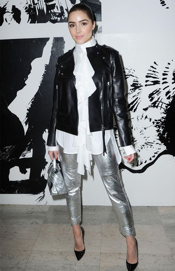 Olivia Culpo fashion style: Tod's jacket and Micro Wave Leather Tote, Ellery top, Paul and Joe trousers