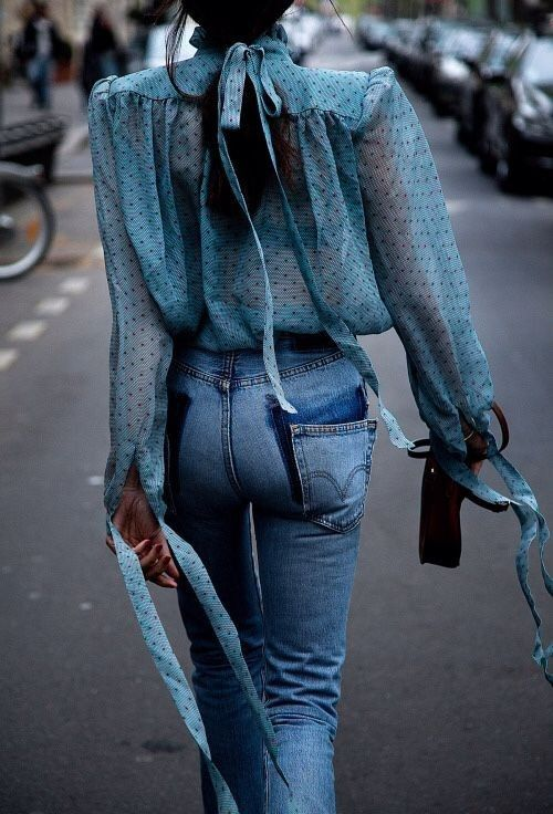 Jeans + Sheer Blouse