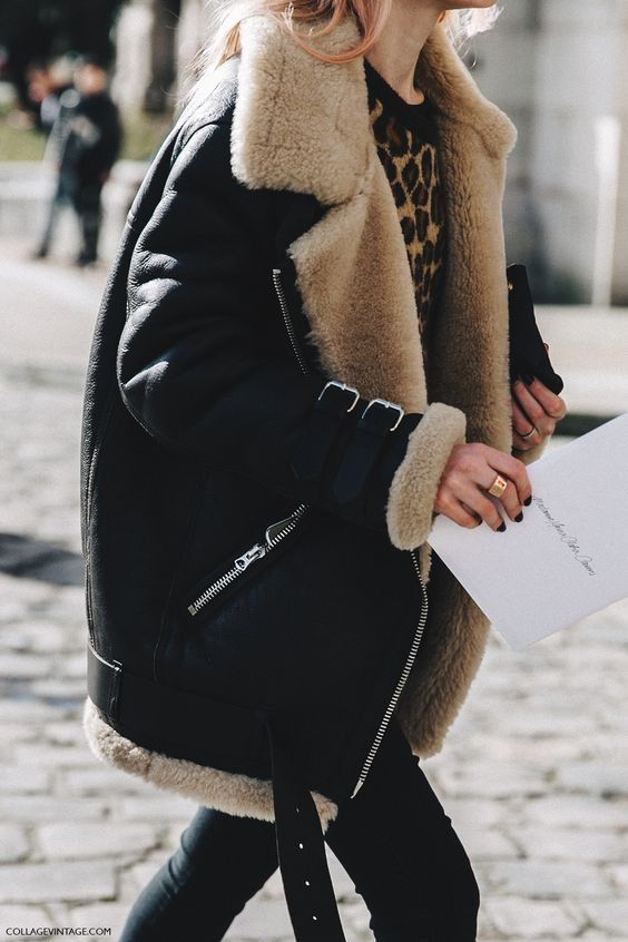 Shearling Coat + Black Jeans