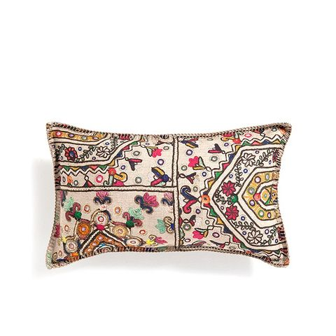 Linen Pillow With an Ethnic Motif