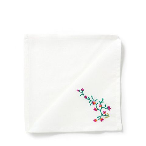 Embroidered Paisley Linen Napkins