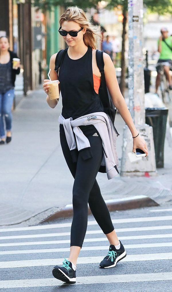 On Karlie Kloss: Adidas Performer High Rise Long Tights ($55); Adidas Pure Boost X Running Shoes ($120).