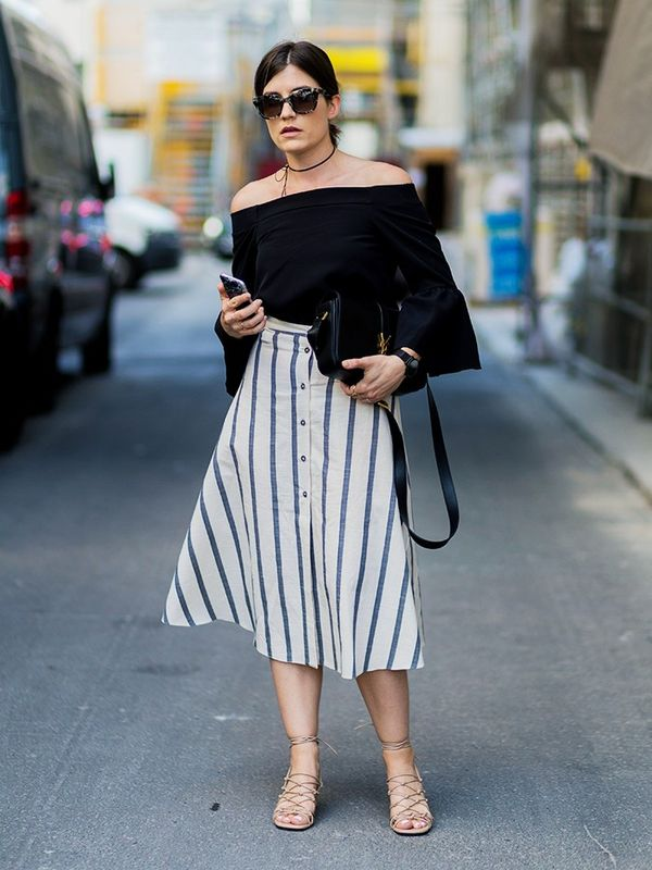 Style Notes: Carola Pojer's ASOS Button Through Midi Skirt in Natural Stripe (£32/£22) is a very versatile summer buy—she's wisely grounded the look for work with a...