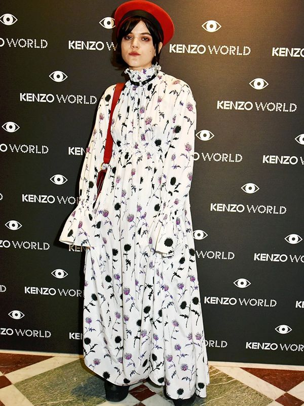 Style Notes: Juxtaposing a floral Kenzo dress against red Gucci accessories, SoKo's remixed the floral frock idea.