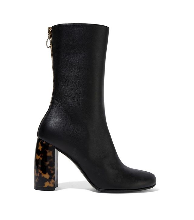Stella McCartney Faux Leather Ankle Boots in Black and Tortoiseshell heel