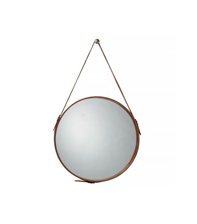 Round Leather Mirror