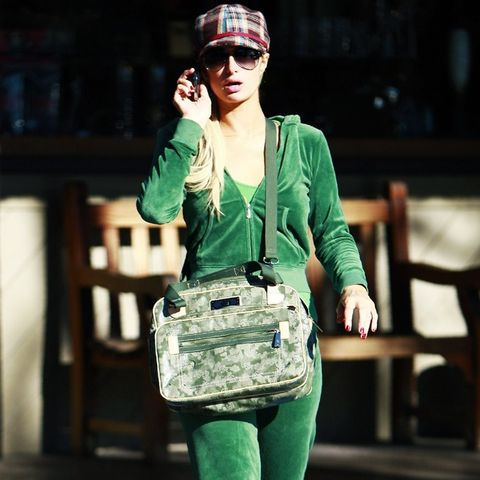 00s fashion trends: Paris Hilton wearing a green Juicy tracksuit