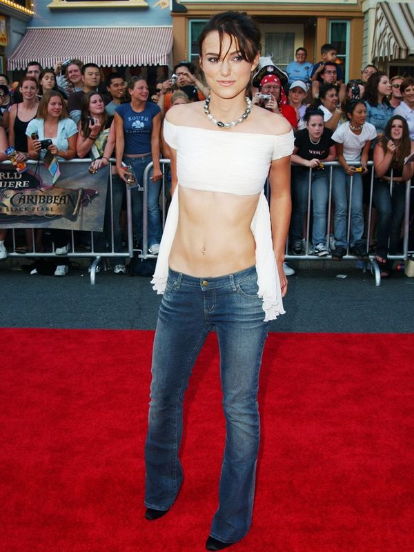 00s fashion trends: Keira Knightley wears low-rise jeans on the red carpet