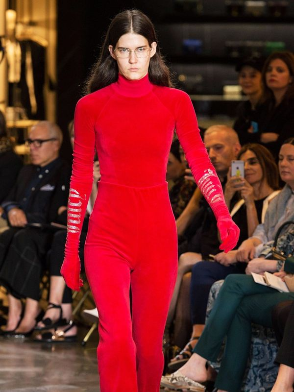 00s fashion trends: Red Juicy Couture velour tracksuit on runway at Vetements