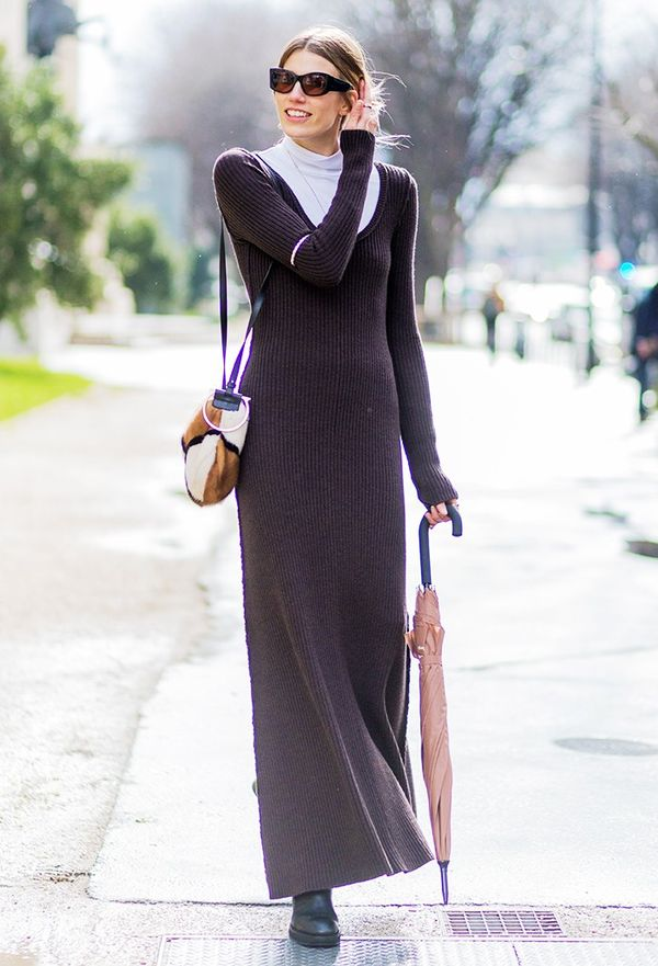 A ribbed chocolate brown dress is a perfect transitional piece.