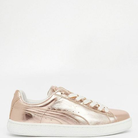 Basket Trainers in Rose Gold Metallic