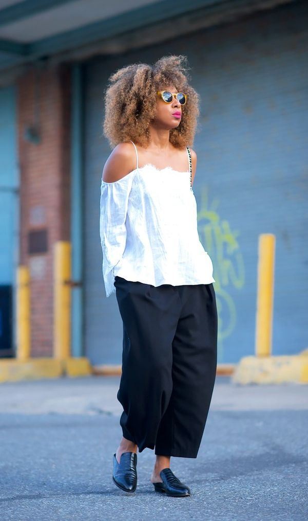 8. Always try the season's biggest trend in an unexpected way. On Karen Blanchard: Zara top; H&M Culottes ($25); Robert Clergerie Alice Loafers($495); Street Vendor sunglasses; Chanel...