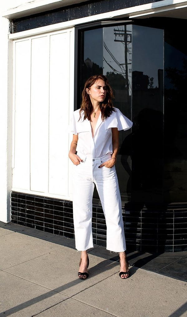 9. There's a world beyond simple white button-down shirts. Opt for styles with an interesting detail instead. On Courtney Trop: Ammara Marlene Top($350); Aperlai Emanuelle Suede...
