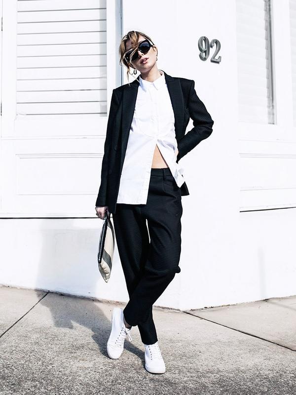 Trouser Suit + Open Shirt + Sneaks