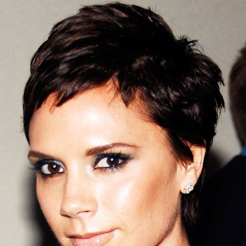 Victoria Beckham with an short elfin crop, perfect for heart-shaped faces
