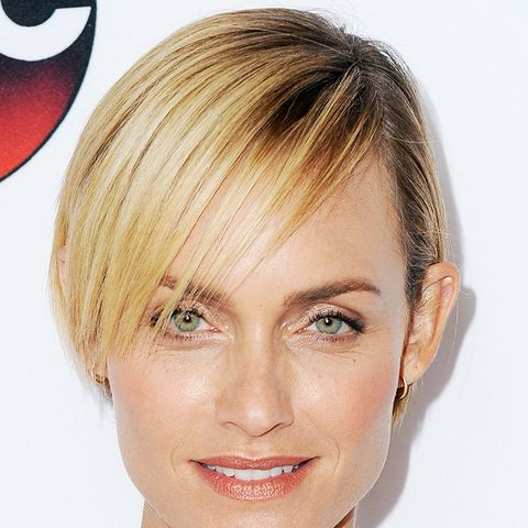 Amber Valetta's short hairstyle is with a long fringe and crop, great for square faces