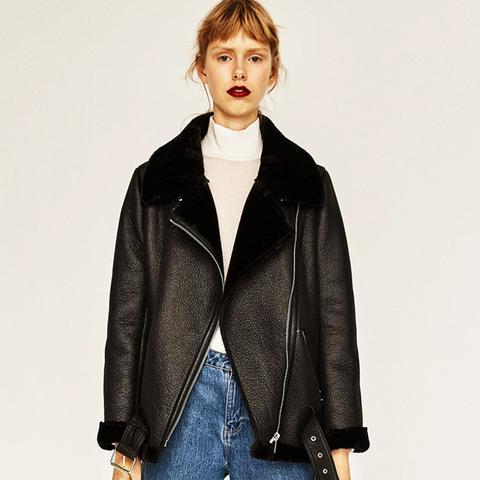 Faux-Fur Collar Biker Jacket