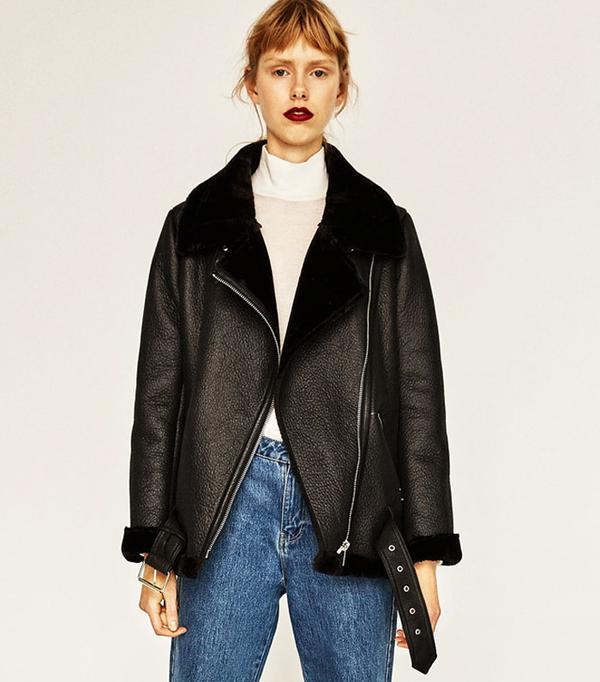Best Winter Coats: Zara Faux-Fur Collar Biker Jacket