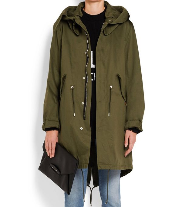 best winter coats: Givenchy Hooded Printed Cotton-Twill Parka