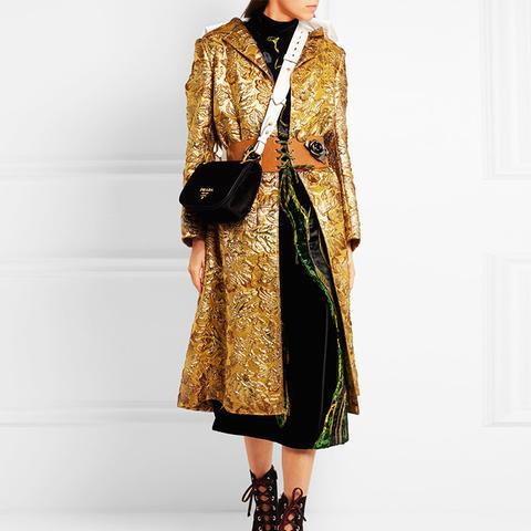 Hooded Metallic Jacquard Coat