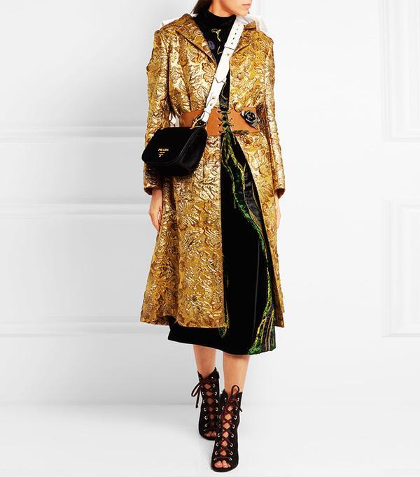 Best Winter Coats: Prada Hooded Metallic Jacquard Coat