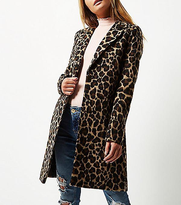 Best Winter Coats: River Island Brown Leopard Overcoat