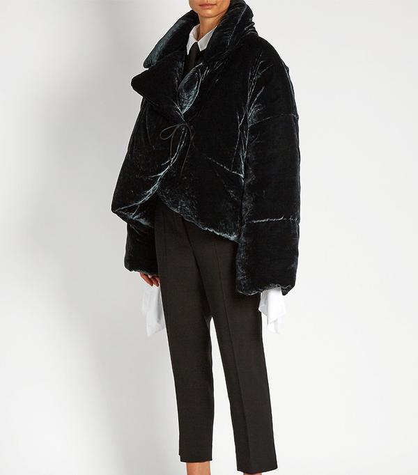 Best Winter Coats: Isa Arfen Asymmetric Padded Velvet Coat